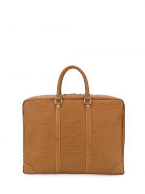 Коричневая кожаная сумка для ноутбука круглая Louis Vuitton