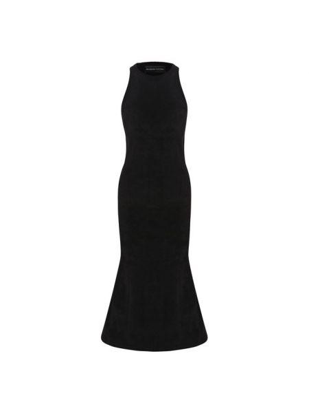 Черное расклешенное приталенное платье миди с декольте Brandon Maxwell
