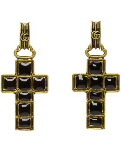Czarne złote kolczyki sztyfty Gucci