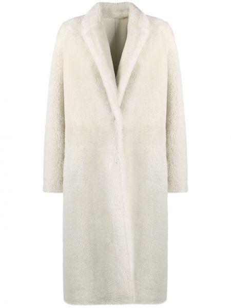 Приталенное белое кожаное пальто классическое Yves Salomon