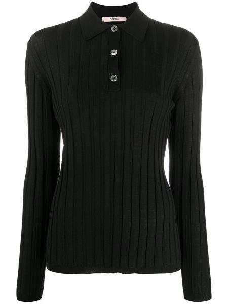 Шерстяная черная рубашка с воротником на пуговицах Odeeh
