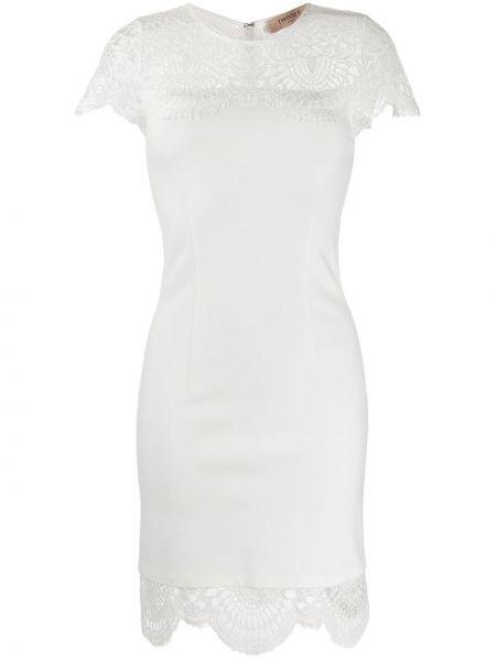 Белое платье мини с вырезом с короткими рукавами со вставками Twin-set