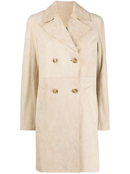 С рукавами коралловое длинное пальто свободного кроя с карманами Yves Salomon