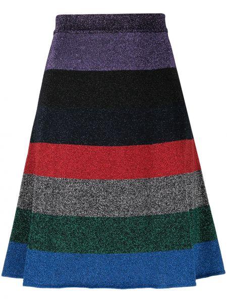 С завышенной талией плиссированная юбка мини в полоску Victoria Beckham
