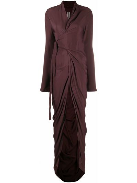 Brązowy jedwab długo sukienka z dekoltem w szpic z draperią Rick Owens