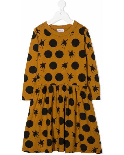 Коричневое платье с рукавами круглое с круглым вырезом с длинными рукавами Wolf & Rita