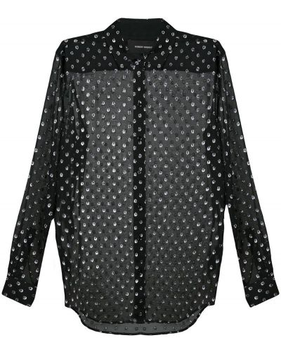 Свободная классическая блузка прозрачная с манжетами Robert Rodriguez Studio