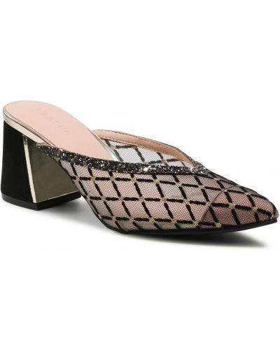 Czarne złote sandały Menbur