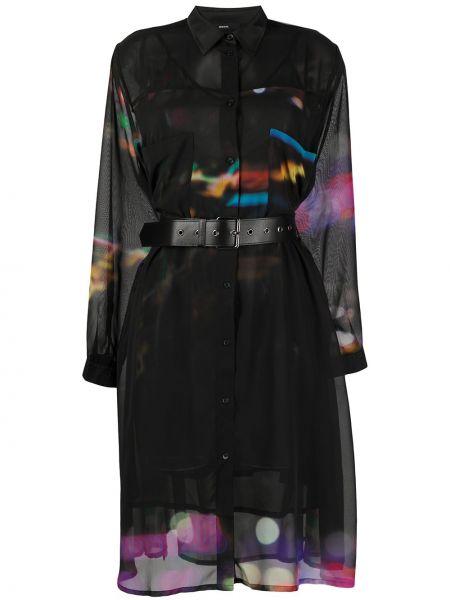 С рукавами черное платье миди прозрачное Diesel
