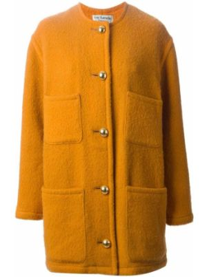 Желтое однобортное пальто из мохера на пуговицах Guy Laroche Pre-owned