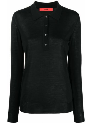 Черная рубашка с воротником с длинными рукавами Roberto Collina