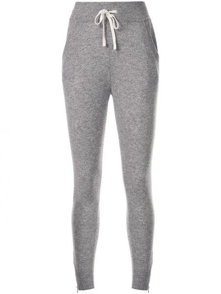 Серые спортивные брюки в рубчик с карманами с манжетами James Perse