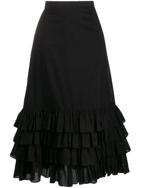 Черная приталенная юбка миди с оборками в рубчик Milla Milla