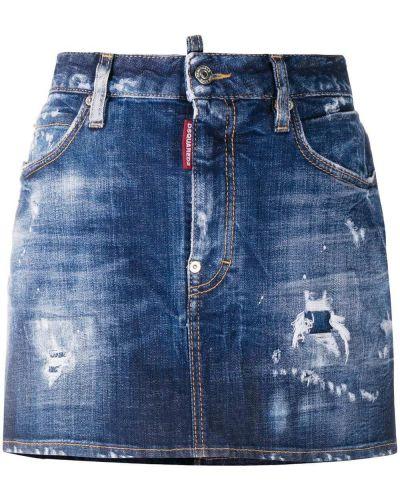 Хлопковая синяя джинсовая юбка на пуговицах Dsquared2
