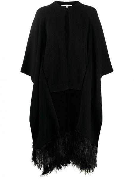 Z rękawami czarny trykotowy kardigan z wiskozy okrągły Valentino