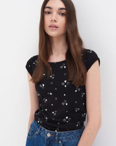Черная футболка с короткими рукавами Sinsay