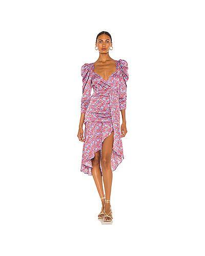 Текстильное фиолетовое платье миди на молнии с оборками For Love & Lemons