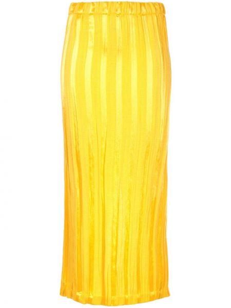 Желтая приталенная юбка миди в рубчик с поясом Zero + Maria Cornejo