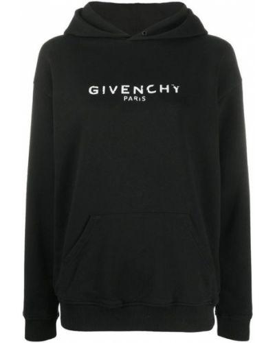 Czarna bluza z kapturem z długimi rękawami Givenchy