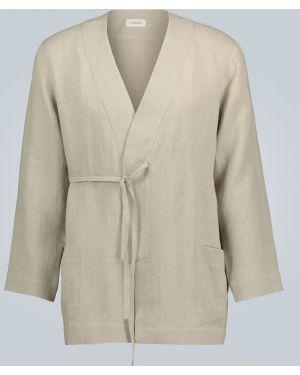 Куртка льняная с отделкой мехом кролика Commas