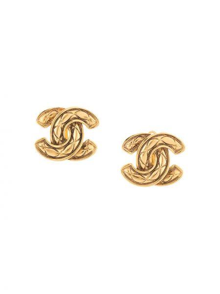 Złote kolczyki sztyfty pozłacane z diamentem Chanel Pre-owned