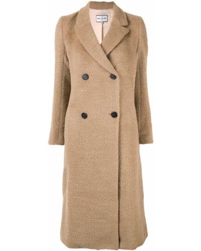 Длинное пальто бежевое шерстяное Paul & Joe