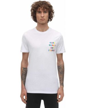 Biały t-shirt bawełniany z printem Make Money Not Friends