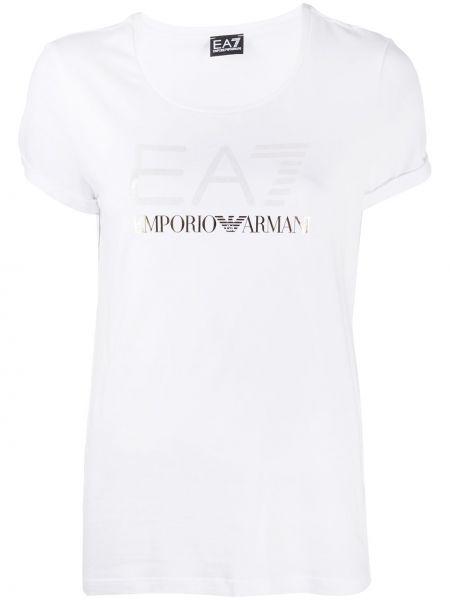 Хлопковая белая прямая футболка с короткими рукавами Ea7 Emporio Armani