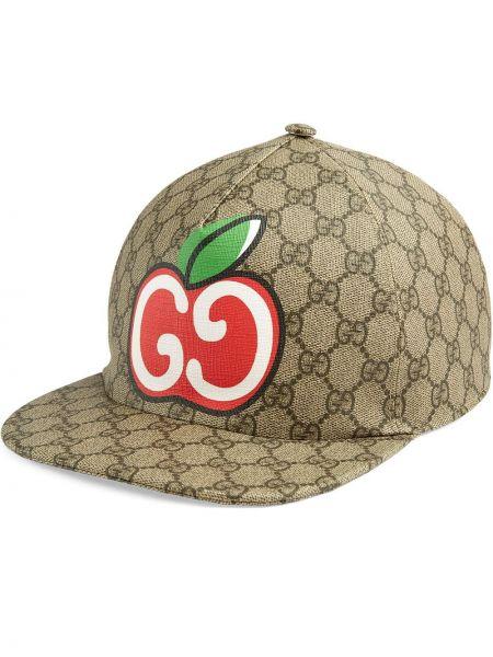 Beżowy baseball z paskiem kapelusz z płótna Gucci
