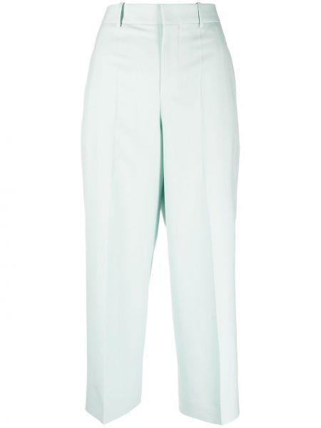 Zielone spodnie z wysokim stanem wełniane Givenchy