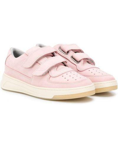 Кожаные розовые кроссовки на липучках с перфорацией Acne Studios Kids