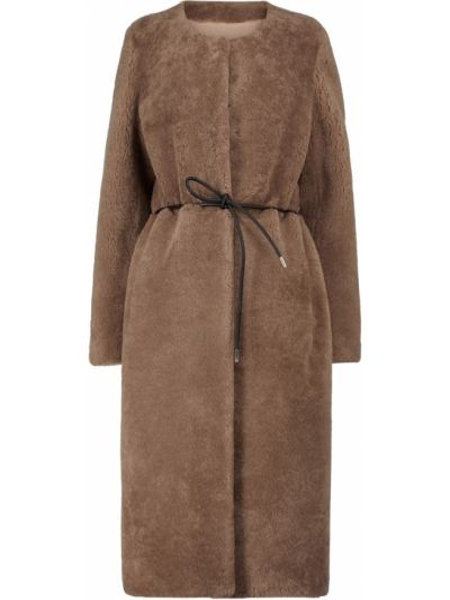 Коричневое пальто с карманами Yves Salomon