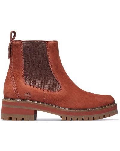 Кожаные ботинки челси - коричневые Timberland