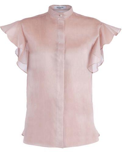Блузка с пышными рукавами с воротником-стойкой Valentino