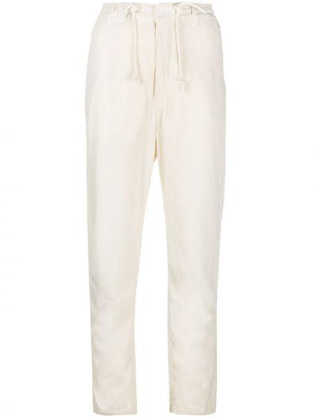 Белые шелковые зауженные брюки с завязками Poème Bohémien