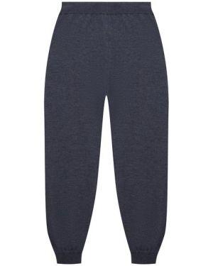 Синие кашемировые брюки с поясом свободного кроя Giorgetti Cashmere