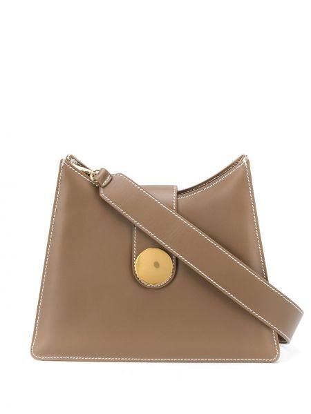 Brązowy skórzana torebka z prawdziwej skóry z łatami z kieszeniami Elleme
