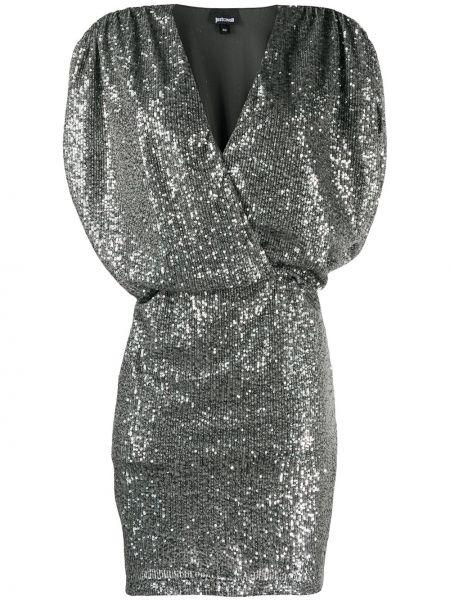 Приталенное платье мини с запахом с пайетками Just Cavalli