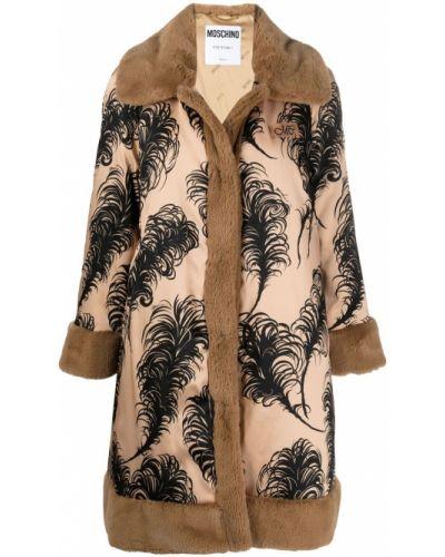 Пальто классическое из искусственного меха с воротником с нашивками Moschino
