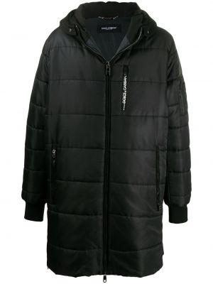 Bawełna bawełna czarny długi płaszcz z kieszeniami Dolce And Gabbana