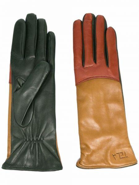 Зеленые кожаные перчатки Tela