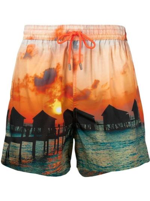 Оранжевые пляжные плавки-боксеры с карманами Paul Smith