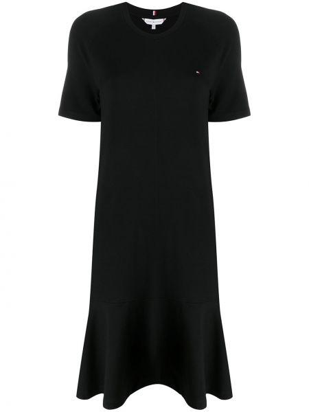 Черное расклешенное платье миди с вышивкой с вырезом Tommy Hilfiger
