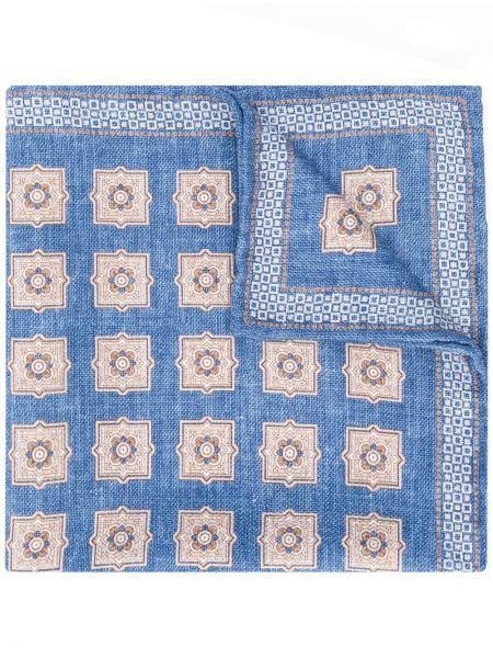 Платок синий с цветочным принтом Brunello Cucinelli