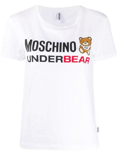T-shirt z kapturem rozciągać Moschino