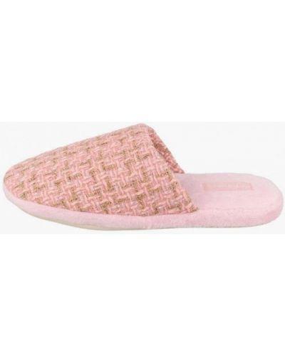 Текстильные розовые домашние тапочки De Fonseca