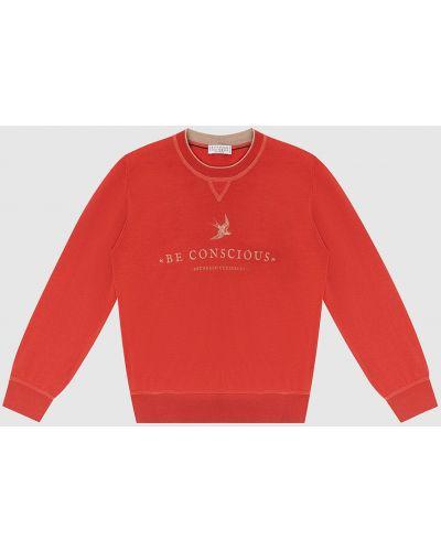 Шерстяной красный свитшот Brunello Cucinelli