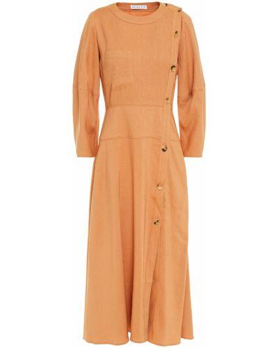 Расклешенное льняное желтое платье миди Rejina Pyo