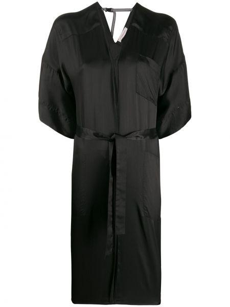 Черное платье миди с V-образным вырезом на молнии с карманами A.f.vandevorst