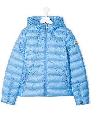 Pikowana płaszcz długi z kapturem Moncler Kids